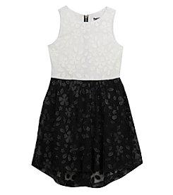 Tween Diva by Rare Editions Girls' 7-16 Textured Colorblock High-Low Dress