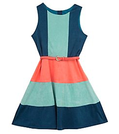 Tween Diva by Rare Editions Girls' 7-16 Colorblock Belted Fit And Flare Dress