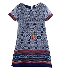 Tween Diva by Rare Editions Girls' 7-16 Geo Border Shift Dress With Necklace