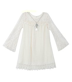 Rare Editions® Girls' 7-16 Lace Shift Dress With Necklace