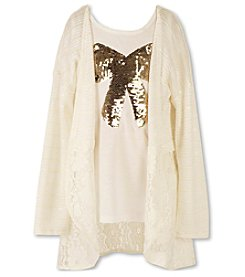 Speechless® Girls' 7-16 Long Sleeve Lace Trim Cozy With Sequin Bow Top