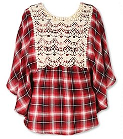 Speechless® Girls' 7-16 Crochet Trim Plaid Circle Top