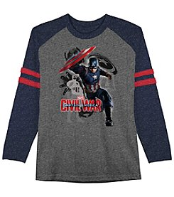 Marvel® Boys' 8-20 Long Sleeve Captain America® Raglan Tee