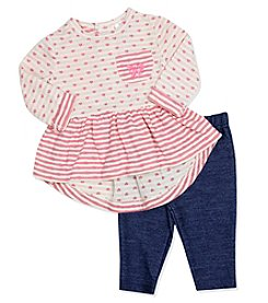 Baby Essentials® Baby Girls' 2-Piece Heart Peplum Top And Jeggings Set