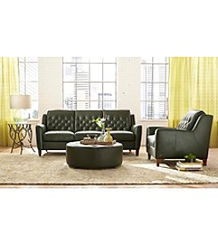 Natuzzi Editions® Alpine Dark Green Leather Living Room Furniture Collection