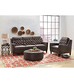 Natuzzi Editions® Alpine Brown Leather Living Room Furniture Collection