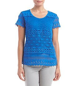 Notations® Petites' Short Sleeve Solid Lace Top