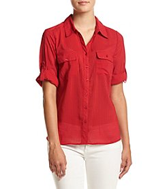 Notations® Petites' Solid Roll Tab Sleeve Woven Top