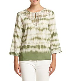 Alfred Dunner® Petites' Tie Dye Woven Biadere Top
