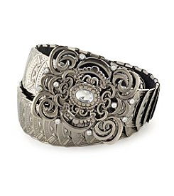 Fashion Focus Stretch Metal Swirl Buckle Belt