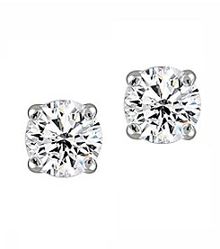 Designs by FMC Sterling Silver Cubic Zirconia Round Stud Earrings