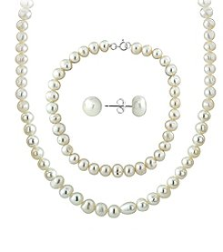 Designs by FMC Sterling Silver Classic Cream Freshwater Pearl Set