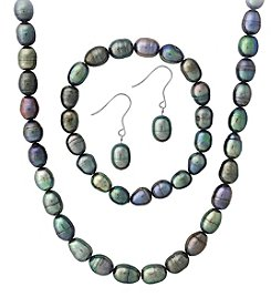 Designs by FMC Sterling Silver Oval Peacock Grey Freshwater Pearl Set
