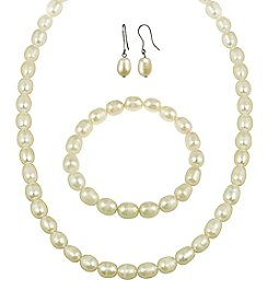 Designs by FMC Sterling Silver Oval Cream Freshwater Pearl Set