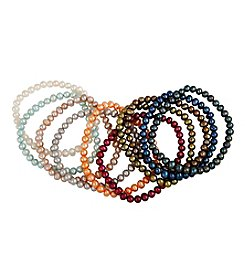 Designs by FMC Set of 10 Freshwater Pearl Stretch Bracelets
