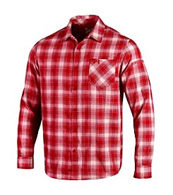 Under Armour® NCAA® Wisconsin Badgers Men's Plaid Long Sleeve Button Down Shirt