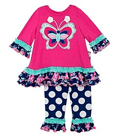 Rare Editions® Girls' 2T-4T 2-Piece Butterfly Tunic And Leggings Set