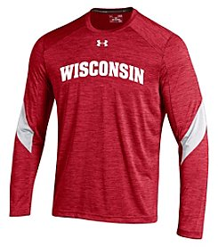 Under Armour® NCAA® Wisconsin Boys' 8-20 Microthread Long Sleeve Tee