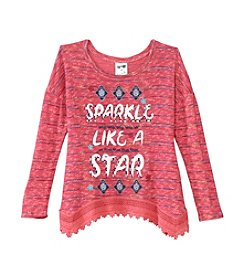 Belle du Jour Girls' 7-16 Long Sleeve Sparkle Like A Star Top