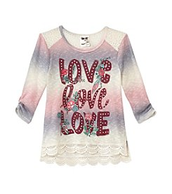 Belle du Jour Girls' 7-16 Long Sleeve Love Love Love Top