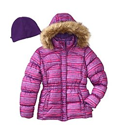 Vertical '9® Girls' 2T-16 Faux Fur Trim Puffer Jacket With Hat