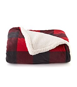 LivingQuarters Red Buffalo Plaid Sherpa Throw