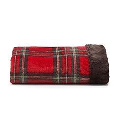 Cuddl Duds® Printed Flannel Fleece Throw With Faux Fur Trim