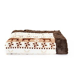 Cuddl Duds® Printed Flannel Fleece Throw With Faux Fur Trim