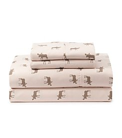 Ruff Hewn Moose Patterned Flannel Sheets