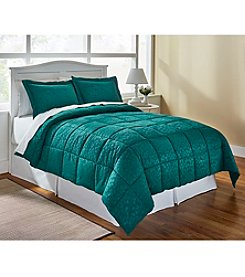 LivingQuarters Reversible Microfiber Down-Alternative Green Botanical Comforter