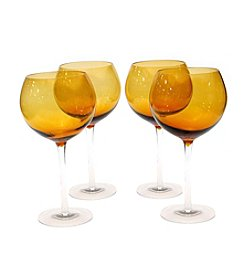 Certified International Set of 4 Dark Amber Red Wine Glasses