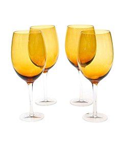 Certified International Set of 4 Dark Amber White Wine Glasses
