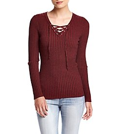 It's Our Time® Long Sleeve Lace-Up V-Neck Sweater