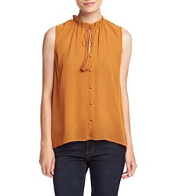 Eyeshadow® Woven Ruffle Neck Sleeveless Top