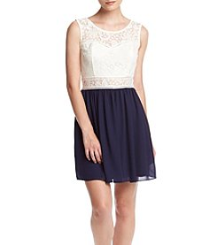 A. Byer Lace Top Dress With Chiffon Skirt