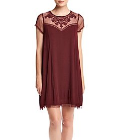 Trixxi® Mesh Neckline Swing Dress