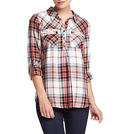 Sequin Hearts® Plaid Placket Utility Top