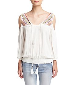 Sequin Hearts® Embroidered Cold Shoulder Peasant Top