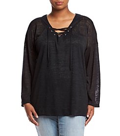 Living Doll® Plus Size Lace-Up V-Neck Top