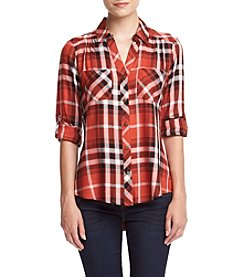 Sequin Hearts® Plaid Utility Top
