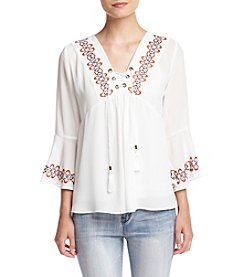 Sequin Hearts® Embroidered Lace-Up Peasant Top