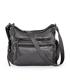 GAL Washed Lizard Embossed Double Zip Hobo
