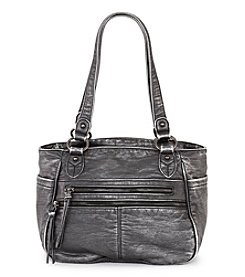 GAL Washed Lizard Embossed Ring Double Handle Tote
