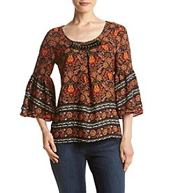 Relativity® Printed Bell Sleeve Peasant Blouse
