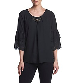 Relativity® Woven Laser Cut Tier Bell Sleeve Top