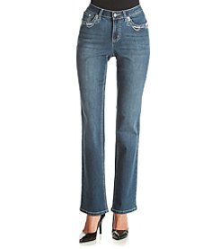 Earl Jean® Bootcut Jeans With Floral Bling Flap Pockets