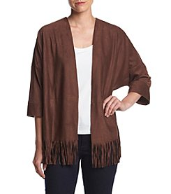 Relativity® Open Front Faux Suede Cardigan