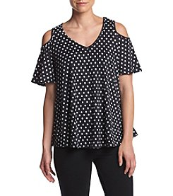 Bobeau® Polka Dot Print Cold Shoulder Top