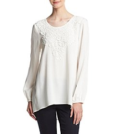Spense® Lace Neckline High-Low Top