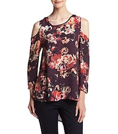 Cupio Floral Print Cold Shoulder Top